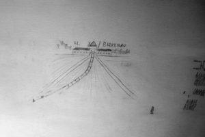 Zeichnung aus dem Konzentrationslager Birkenau